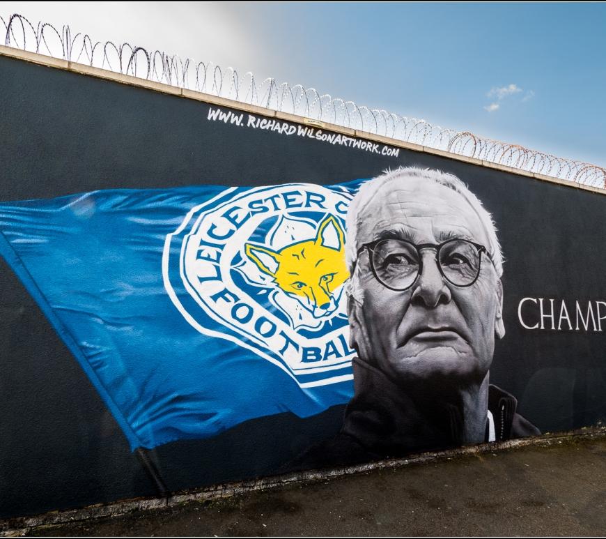 Un murale dedicato al tecnico del Leicester City, Claudio Ranieri